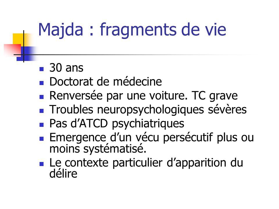 Majda : fragments de vie 30 ans Doctorat de médecine Renversée par une voiture. TC grave Troubles neuropsychologiques sévères Pas d'ATCD psychiatrique