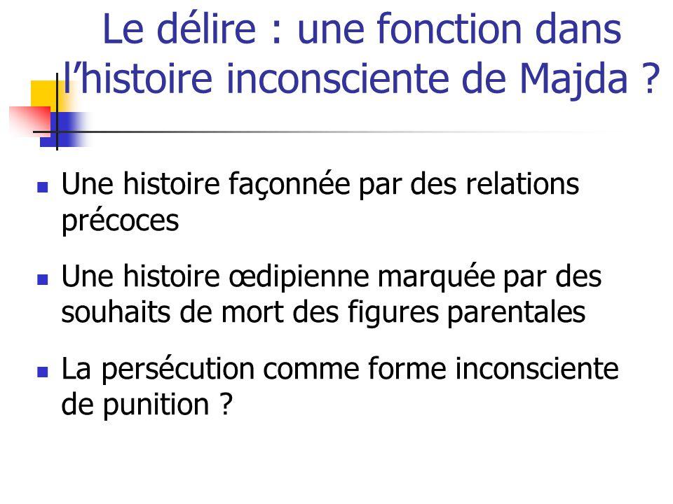 Le délire : une fonction dans l'histoire inconsciente de Majda ? Une histoire façonnée par des relations précoces Une histoire œdipienne marquée par d