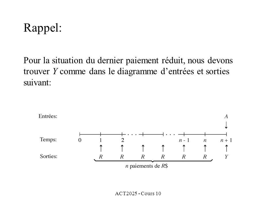 ACT2025 - Cours 10 Pour la situation du dernier paiement réduit, nous devons trouver Y comme dans le diagramme d'entrées et sorties suivant: Rappel: