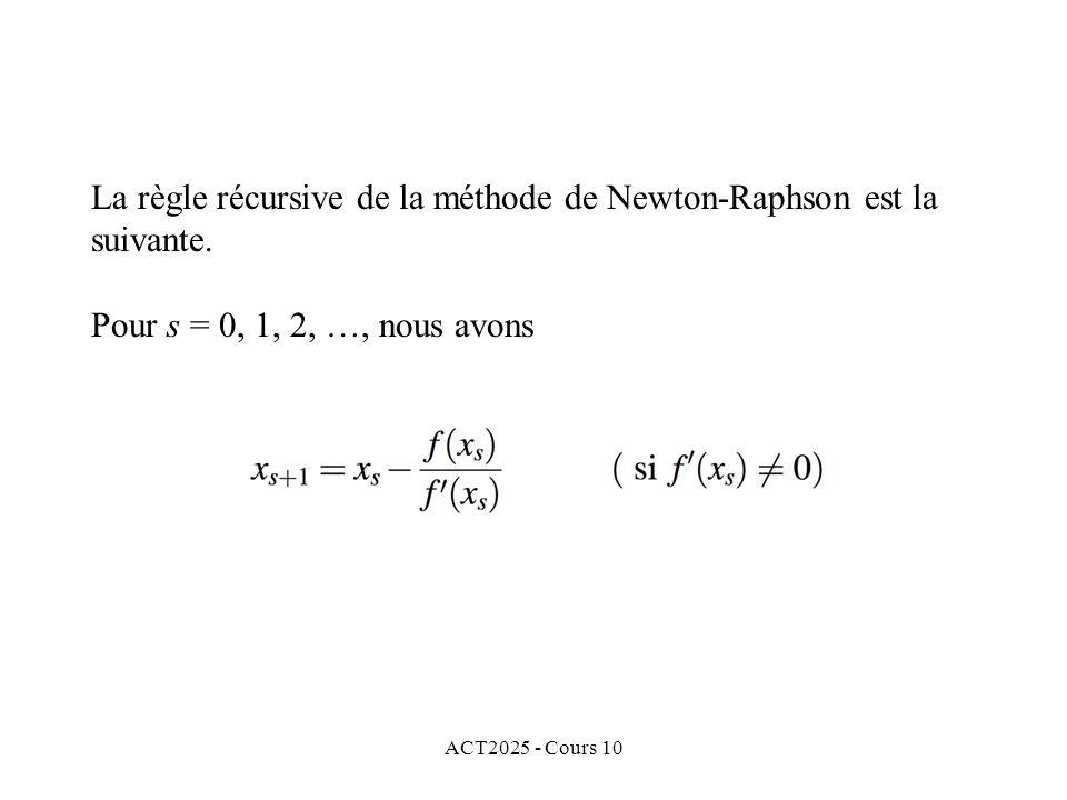 ACT2025 - Cours 10 La règle récursive de la méthode de Newton-Raphson est la suivante. Pour s = 0, 1, 2, …, nous avons