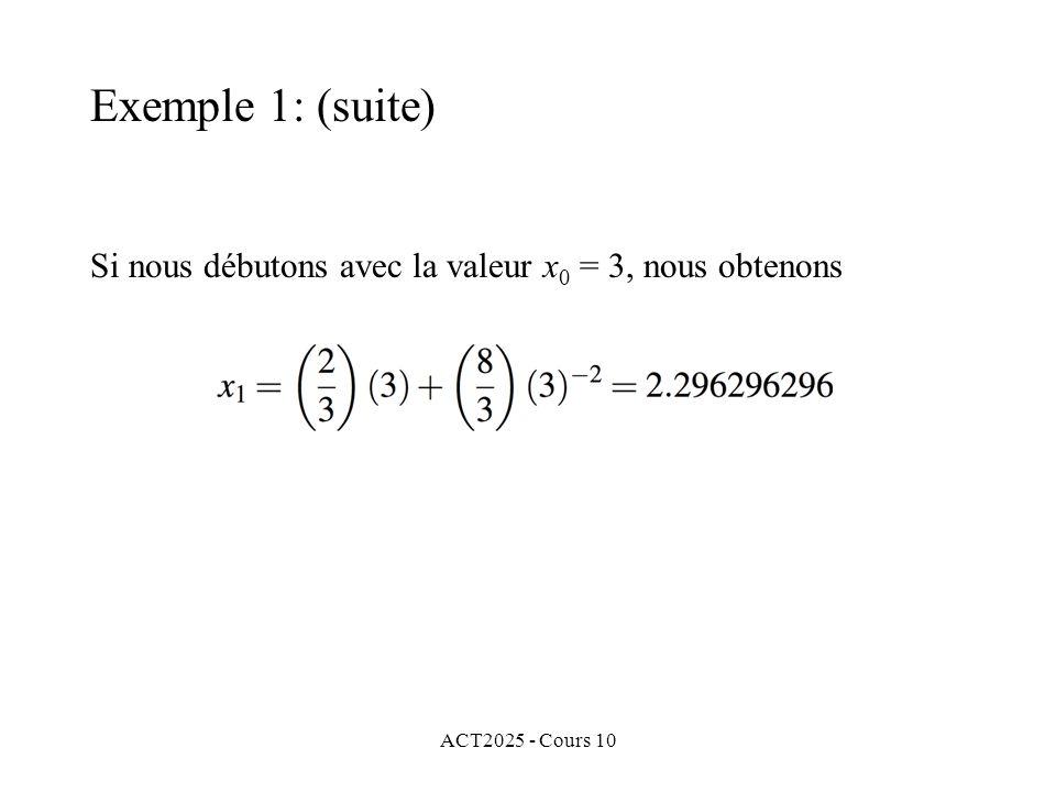 ACT2025 - Cours 10 Si nous débutons avec la valeur x 0 = 3, nous obtenons Exemple 1: (suite)