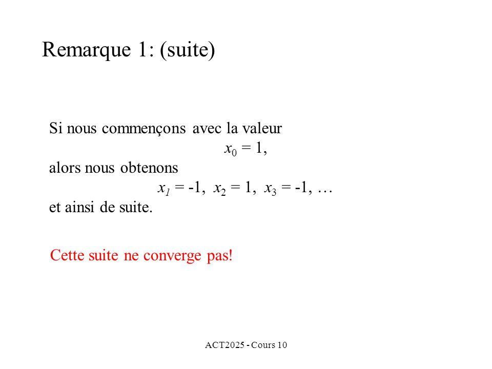 ACT2025 - Cours 10 Si nous commençons avec la valeur x 0 = 1, alors nous obtenons x 1 = -1, x 2 = 1, x 3 = -1, … et ainsi de suite. Remarque 1: (suite