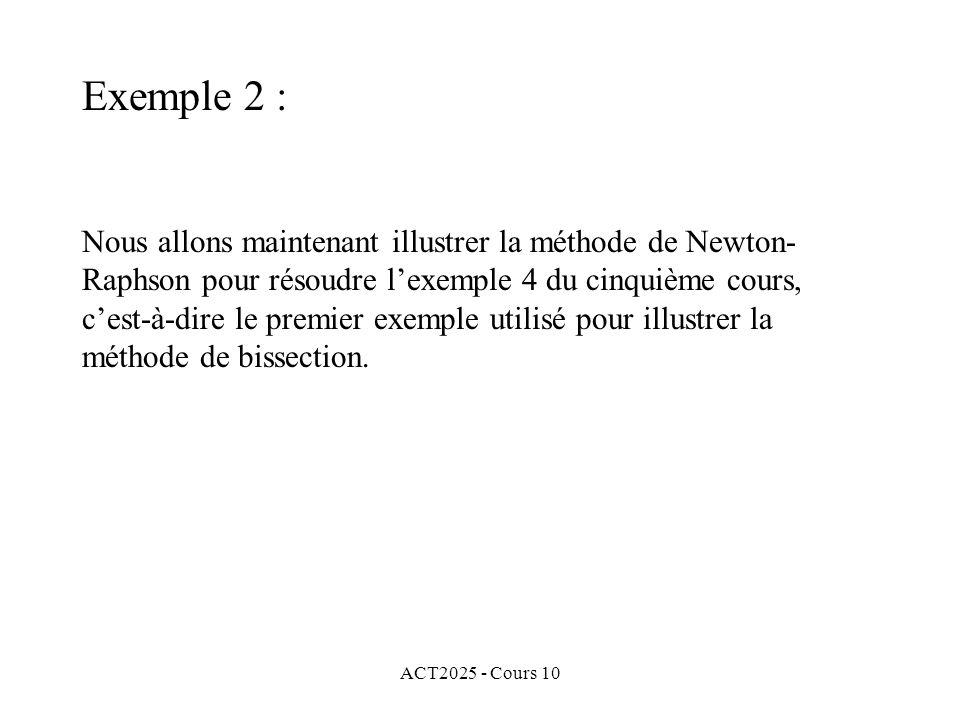 ACT2025 - Cours 10 Nous allons maintenant illustrer la méthode de Newton- Raphson pour résoudre l'exemple 4 du cinquième cours, c'est-à-dire le premie