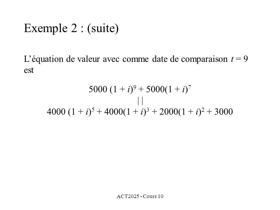 ACT2025 - Cours 10 L'équation de valeur avec comme date de comparaison t = 9 est 5000 (1 + i) 9 + 5000(1 + i) 7 | 4000 (1 + i) 5 + 4000(1 + i) 3 + 200