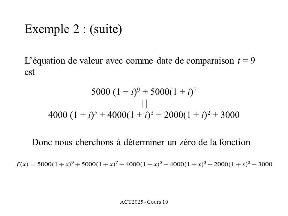 ACT2025 - Cours 10 L'équation de valeur avec comme date de comparaison t = 9 est Donc nous cherchons à déterminer un zéro de la fonction 5000 (1 + i)