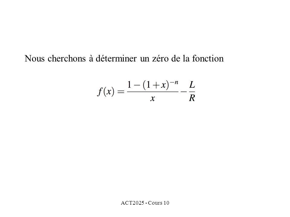 ACT2025 - Cours 10 Nous cherchons à déterminer un zéro de la fonction