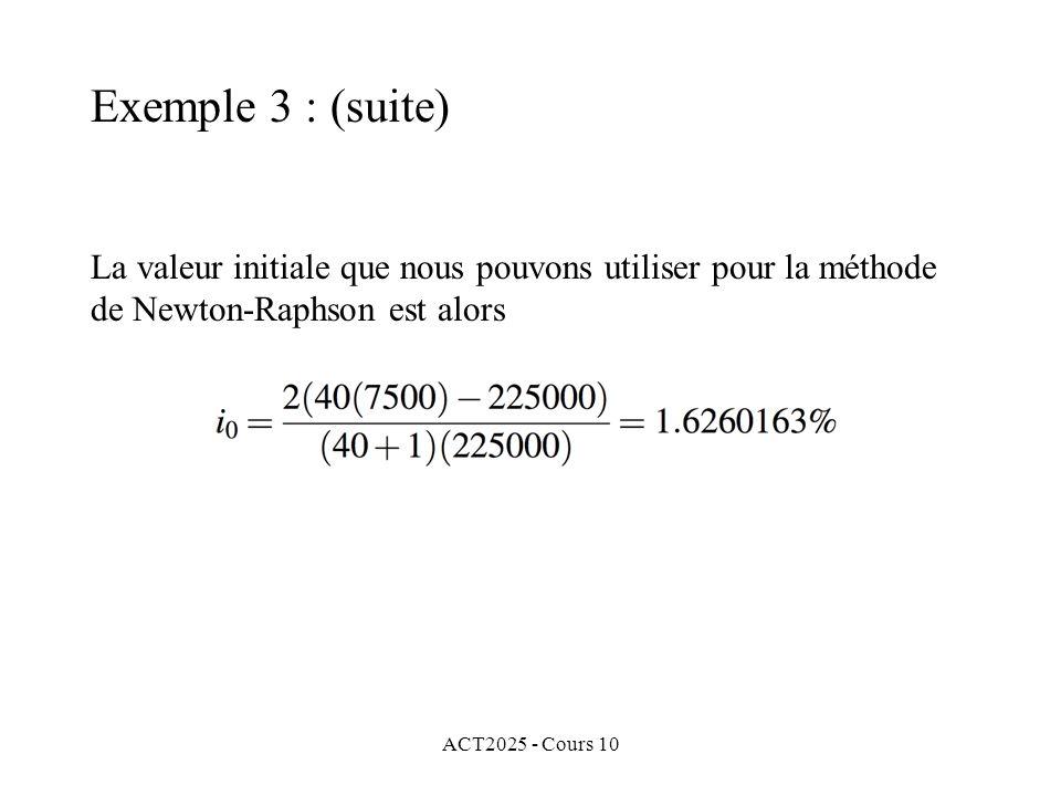 ACT2025 - Cours 10 La valeur initiale que nous pouvons utiliser pour la méthode de Newton-Raphson est alors Exemple 3 : (suite)