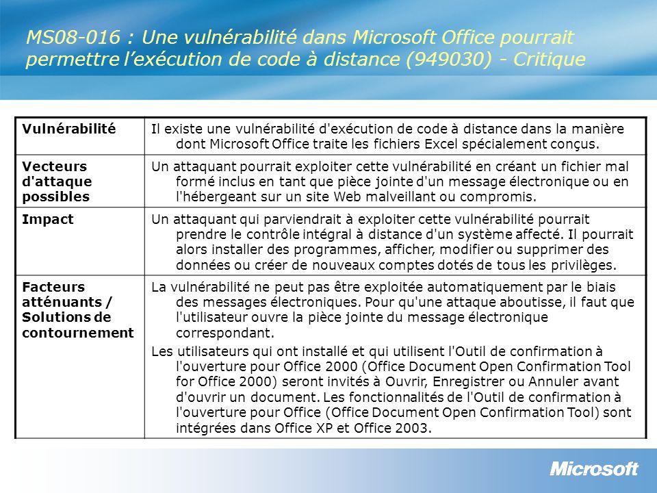 MS08-016 : Une vulnérabilité dans Microsoft Office pourrait permettre l'exécution de code à distance (949030) - Critique VulnérabilitéIl existe une vulnérabilité d exécution de code à distance dans la manière dont Microsoft Office traite les fichiers Excel spécialement conçus.