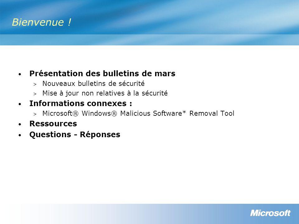 Détection et déploiement Windows Update/Mises à jour automatiques Microsoft Update/Mises à jour automatiques Office Update et Outil d inventaire des mises à jour d Office pour SMS Outil d inventaire des mises à jour de sécurité pour SMS (SUIT) Microsoft Update (MU) / Windows Server Update Services (WSUS) / Mises à jour automatiques, Outil d inventaire des mises à jour Microsoft pour SMS 2003 (ITMU) et MBSA 2.0 MS08-014 Non applicableOui MS08-015 Non applicableOui MS08-016 Non applicableOui MS08-017 Non applicableOui