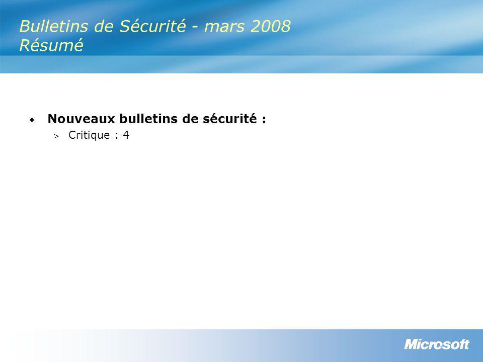 Informations de mise à jour (suite) Bulletin Redémarrage requis HotPatchingDésinstallerRemplace MS08-014 Non Non applicable Excel 2000 – Non Toutes autres versions – Oui MS07-044, MS07-036, MS07-013 MS08-015 Non Non applicable Outlook 2000 – Non Toutes autres versions – Oui MS08-003 MS08-016 Non Non applicable Office 2000 – Non Toutes autres versions – Oui MS07-025, MS07-015, MS07-013, MS07-044 MS08-017 Peut être requis Non applicable Office 2000 – Non Toutes autres versions – Oui Aucun