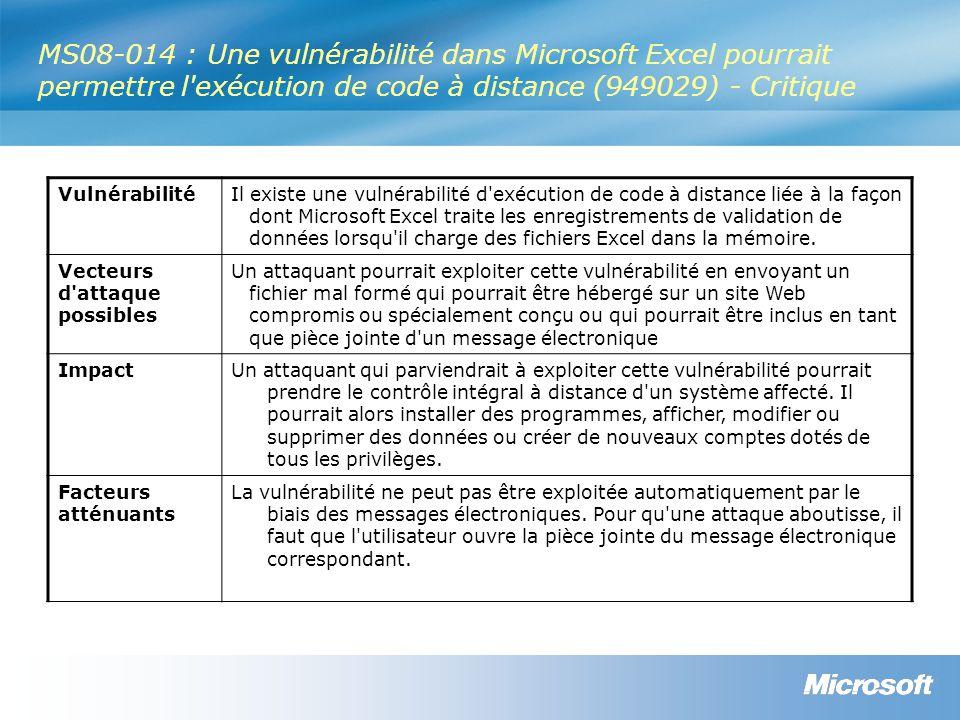 MS08-014 : Une vulnérabilité dans Microsoft Excel pourrait permettre l exécution de code à distance (949029) - Critique VulnérabilitéIl existe une vulnérabilité d exécution de code à distance liée à la façon dont Microsoft Excel traite les enregistrements de validation de données lorsqu il charge des fichiers Excel dans la mémoire.