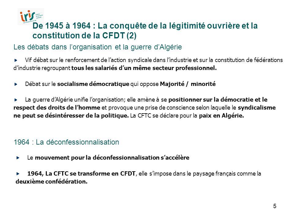5 De 1945 à 1964 : La conquête de la légitimité ouvrière et la constitution de la CFDT (2) Les débats dans l'organisation et la guerre d'Algérie 1964