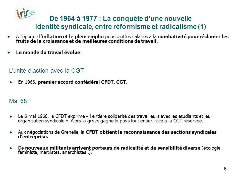 6 De 1964 à 1977 : La conquête d'une nouvelle identité syndicale, entre réformisme et radicalisme (1) A l'époque l'inflation et le plein emploi pousse