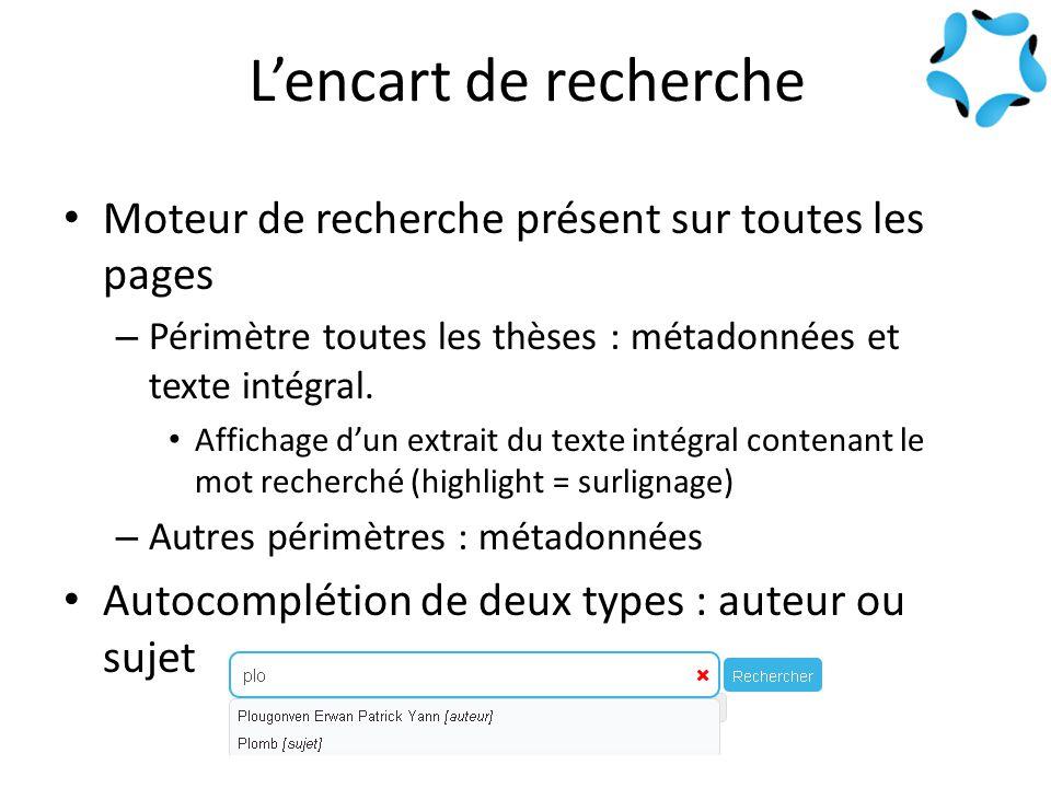 L'encart de recherche Moteur de recherche présent sur toutes les pages – Périmètre toutes les thèses : métadonnées et texte intégral.