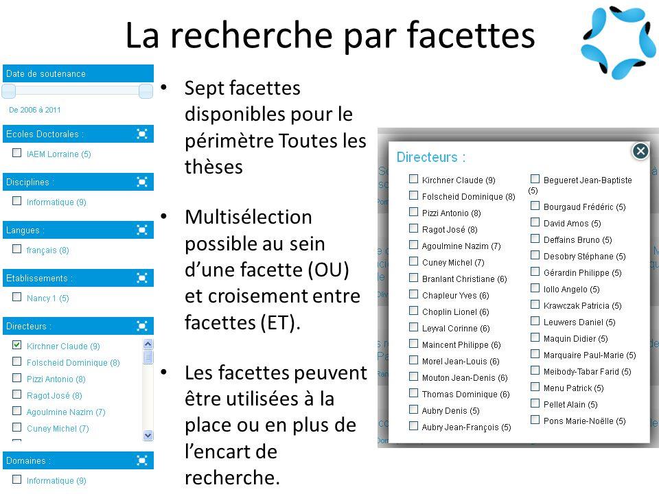 La recherche par facettes Sept facettes disponibles pour le périmètre Toutes les thèses Multisélection possible au sein d'une facette (OU) et croisement entre facettes (ET).