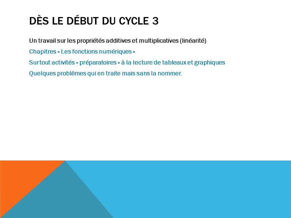 DÈS LE DÉBUT DU CYCLE 3 Un travail sur les propriétés additives et multiplicatives (linéarité) Chapitres « Les fonctions numériques » Surtout activité