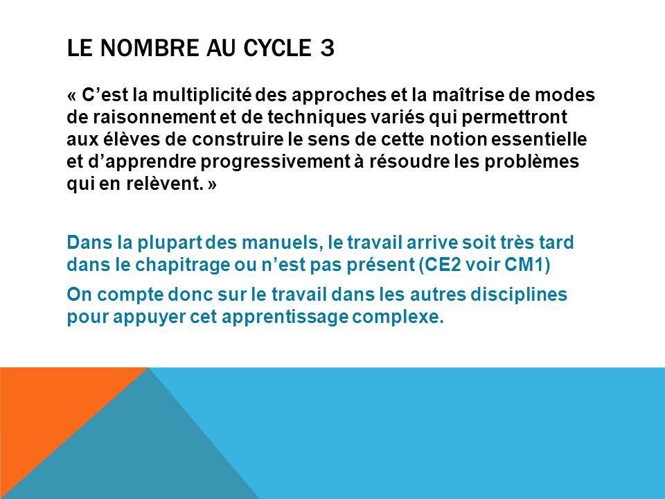 LE NOMBRE AU CYCLE 3 « C'est la multiplicité des approches et la maîtrise de modes de raisonnement et de techniques variés qui permettront aux élèves