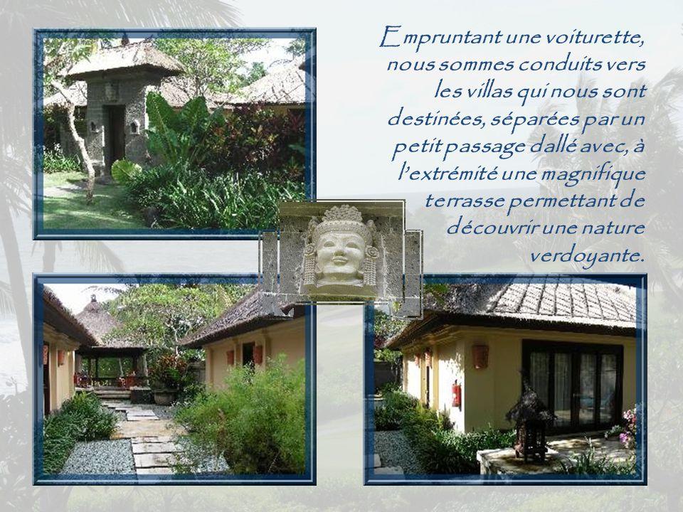 L'émerveillement survient surtout quand, s'approchant de la balustrade, le visiteur découvre le temple, encadré par les cocotiers.
