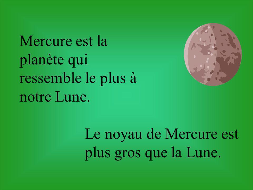Mercure est la plus petite planète du système solaire. Elle a un diamètre de 4878 kilomètres.