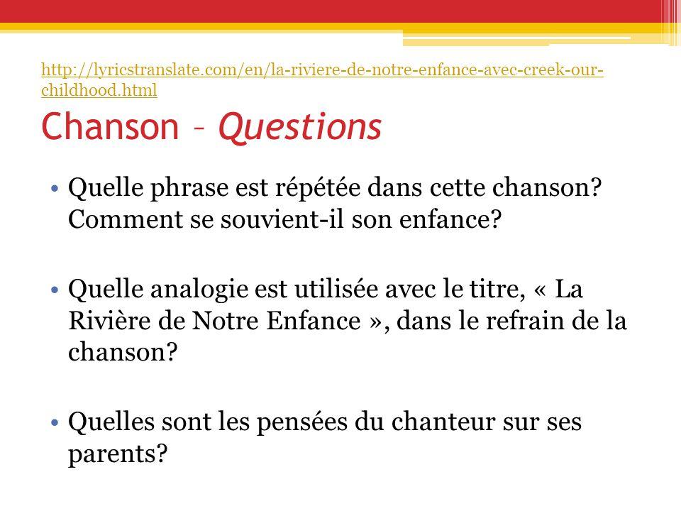 Chanson – Questions Quelle phrase est répétée dans cette chanson.