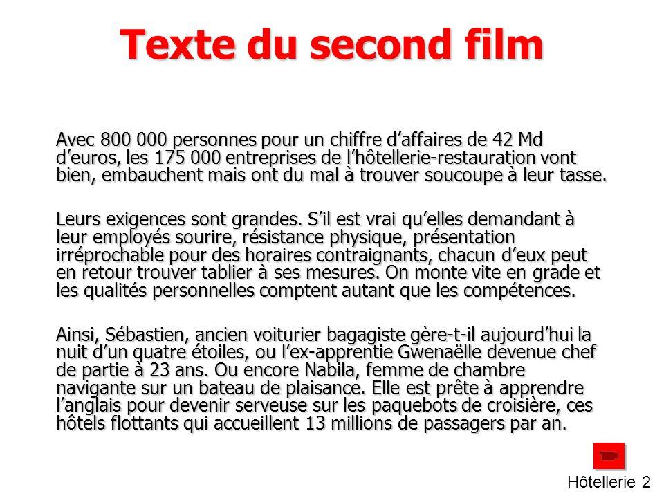 Texte du second film Avec 800 000 personnes pour un chiffre d'affaires de 42 Md d'euros, les 175 000 entreprises de l'hôtellerie-restauration vont bien, embauchent mais ont du mal à trouver soucoupe à leur tasse.