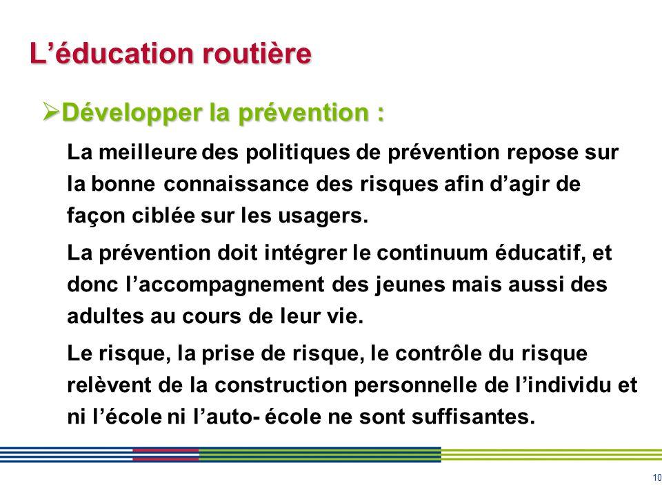 10 L'éducation routière  Développer la prévention : La meilleure des politiques de prévention repose sur la bonne connaissance des risques afin d'agi