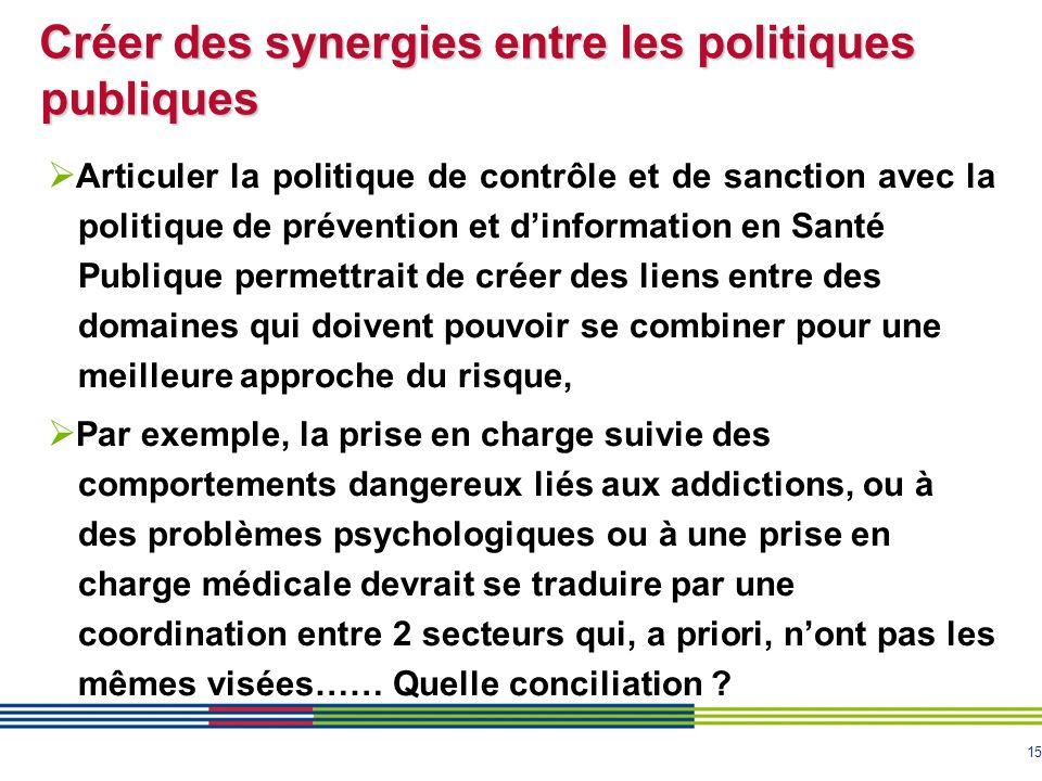 15 Créer des synergies entre les politiques publiques  Articuler la politique de contrôle et de sanction avec la politique de prévention et d'informa