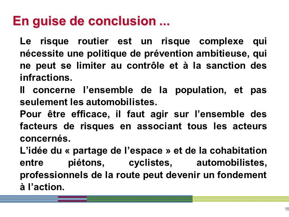 18 En guise de conclusion... Le risque routier est un risque complexe qui nécessite une politique de prévention ambitieuse, qui ne peut se limiter au