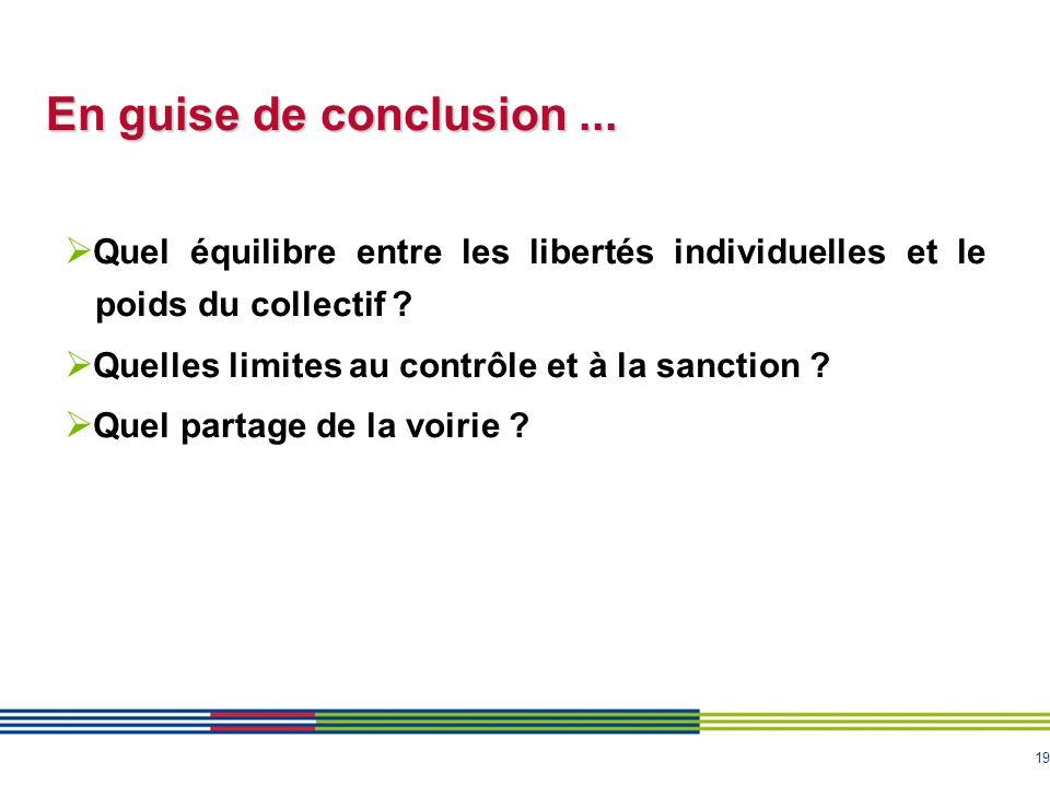 19 En guise de conclusion...  Quel équilibre entre les libertés individuelles et le poids du collectif ?  Quelles limites au contrôle et à la sancti