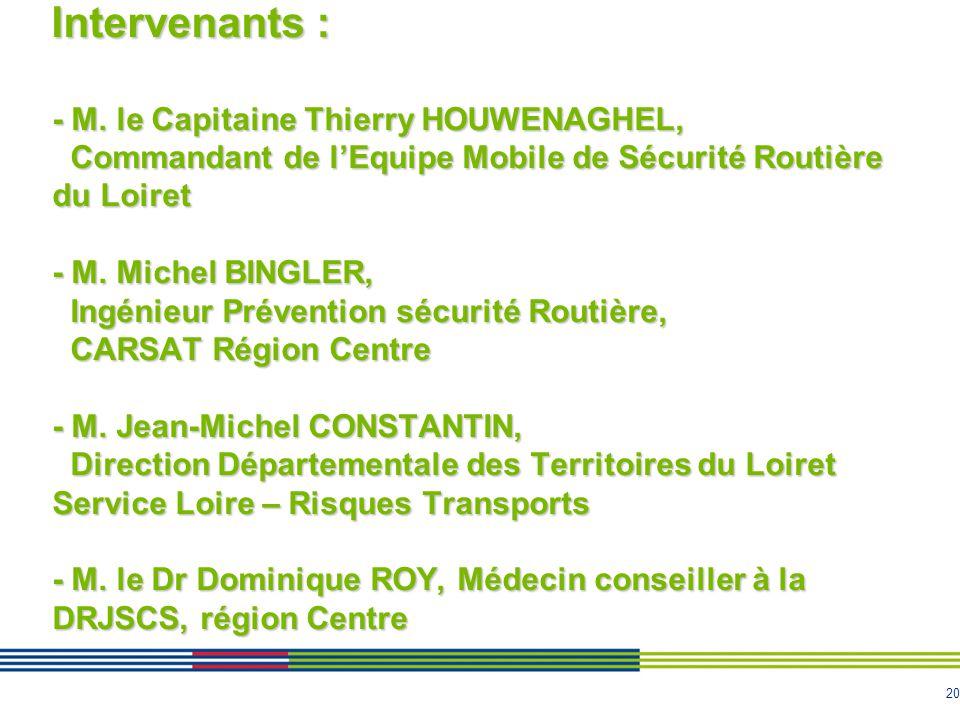 20 Intervenants : - M. le Capitaine Thierry HOUWENAGHEL, Commandant de l'Equipe Mobile de Sécurité Routière du Loiret - M. Michel BINGLER, Ingénieur P
