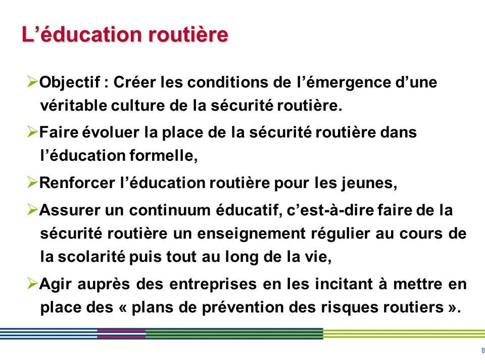 8 L'éducation routière  Objectif : Créer les conditions de l'émergence d'une véritable culture de la sécurité routière.  Faire évoluer la place de l