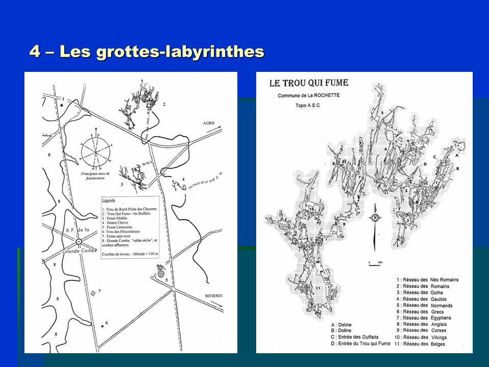 5 – Hypothèses de formation Il existait au moins deux hypothèses pour expliquer la formation des grottes labyrinthes du karst de La Rochefoucauld, mais on peut aujourd'hui en ajouter une troisième : -1) la fantômisation (Dandurand–Maire), -2) le creusement hypogène (Audra).