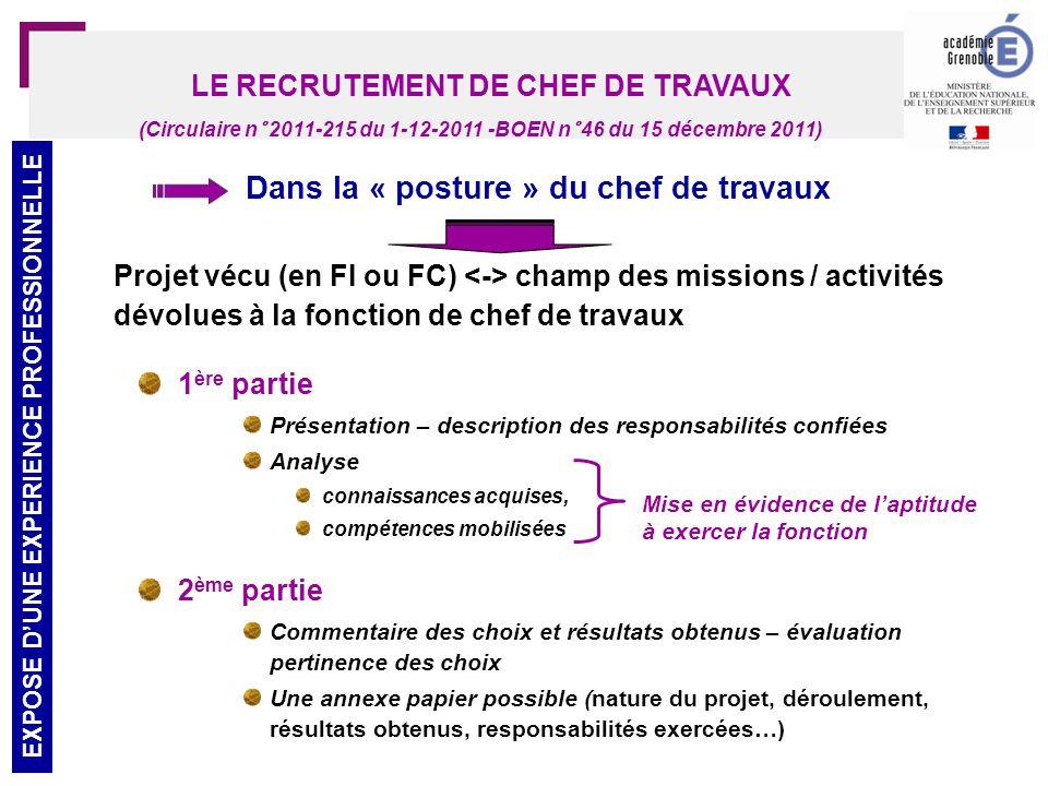 26 LE RECRUTEMENT DE CHEF DE TRAVAUX ENTRETIEN (Circulaire n° 2011-215 du 1-12-2011 -BOEN n° 46 du 15 décembre 2011)