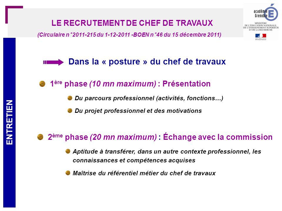 28 LE RECRUTEMENT DE CHEF DE TRAVAUX AFFECTATION/FORMATION (Circulaire n° 2011-215 du 1-12-2011 -BOEN n° 46 du 15 décembre 2011)
