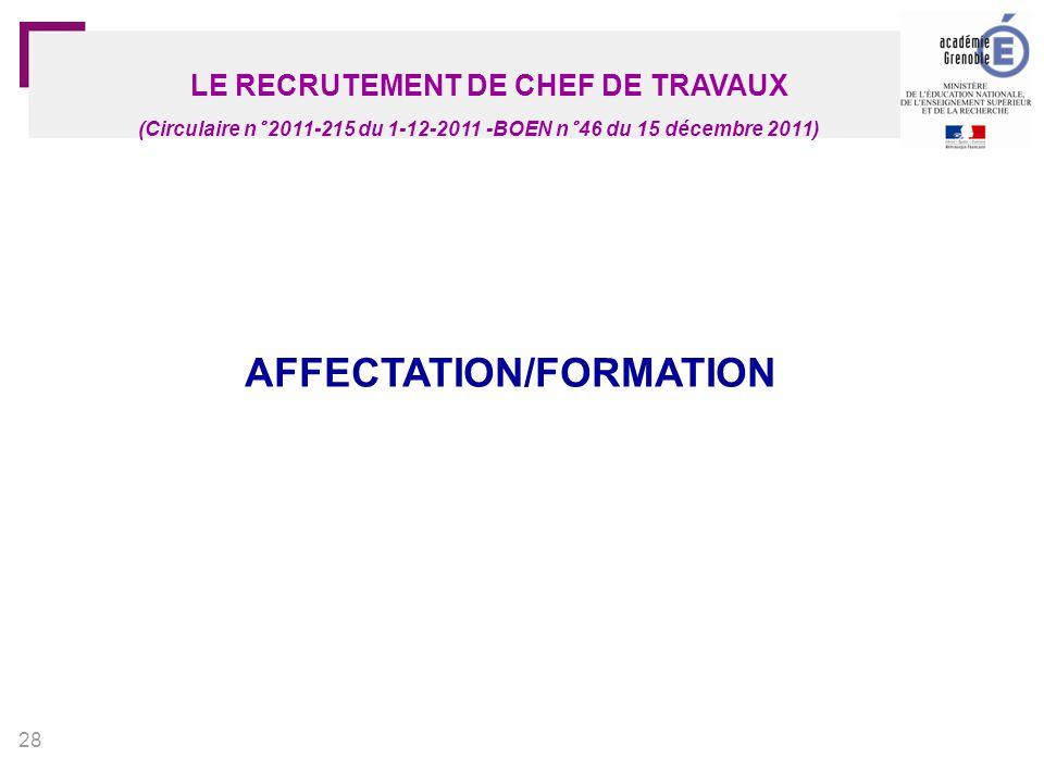 29 LE RECRUTEMENT DE CHEF DE TRAVAUX (Circulaire n° 2011-215 du 1-12-2011 -BOEN n° 46 du 15 décembre 2011) Affectation pour 1 année probatoire (cadre du mouvement national) Possibilité d'assurer de manière temporaire la fonction sur un poste libéré après le mouvement (AFA ou non) Candidats potentiels au(x) mouvement(s) pour les années suivantes (-> 3 ans maximum) AFFECTATION - FORMATION Candidats reconnus aptes à exercer la fonction