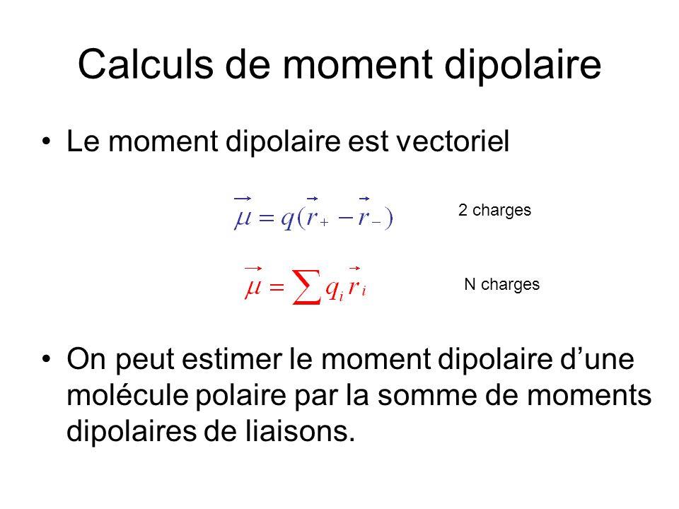 Calculs de moment dipolaire Le moment dipolaire est vectoriel On peut estimer le moment dipolaire d'une molécule polaire par la somme de moments dipol