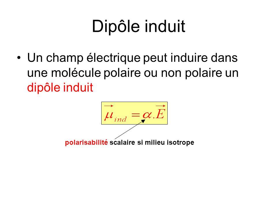 Dipôle induit Un champ électrique peut induire dans une molécule polaire ou non polaire un dipôle induit polarisabilité scalaire si milieu isotrope