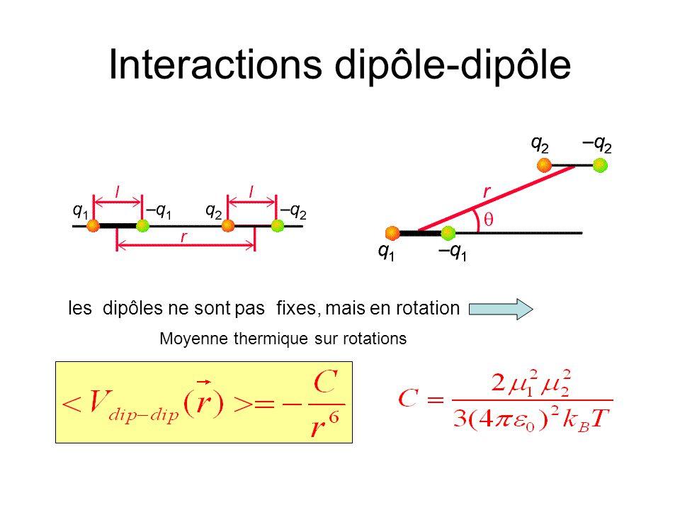 Interactions dipôle-dipôle les dipôles ne sont pas fixes, mais en rotation Moyenne thermique sur rotations