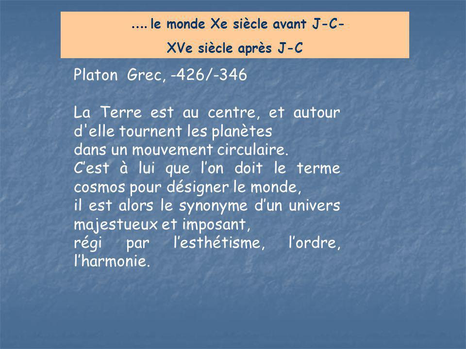 Platon Grec, -426/-346 La Terre est au centre, et autour d'elle tournent les planètes dans un mouvement circulaire. C'est à lui que l'on doit le terme