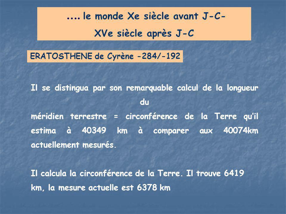 …. le monde Xe siècle avant J-C- XVe siècle après J-C Il se distingua par son remarquable calcul de la longueur du méridien terrestre = circonférence
