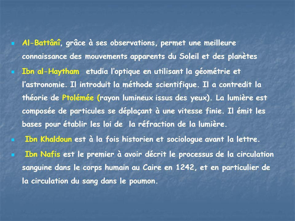Al-Battânî, grâce à ses observations, permet une meilleure connaissance des mouvements apparents du Soleil et des planètes Ibn al-Haytham etudia l'opt
