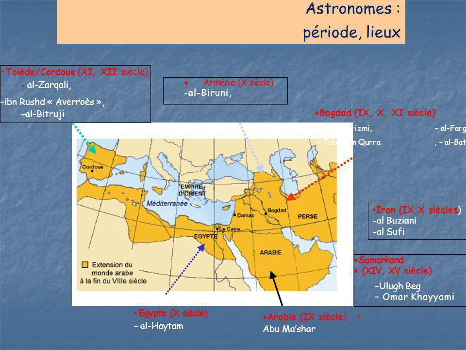Astronomes : période, lieux Tolède/Cordoue (XI, XII siècle) - al-Zarqali, –ibn Rushd « Averroès », –al-Bitruji  Arménie (X siècle) -al-Biruni,  Bagd