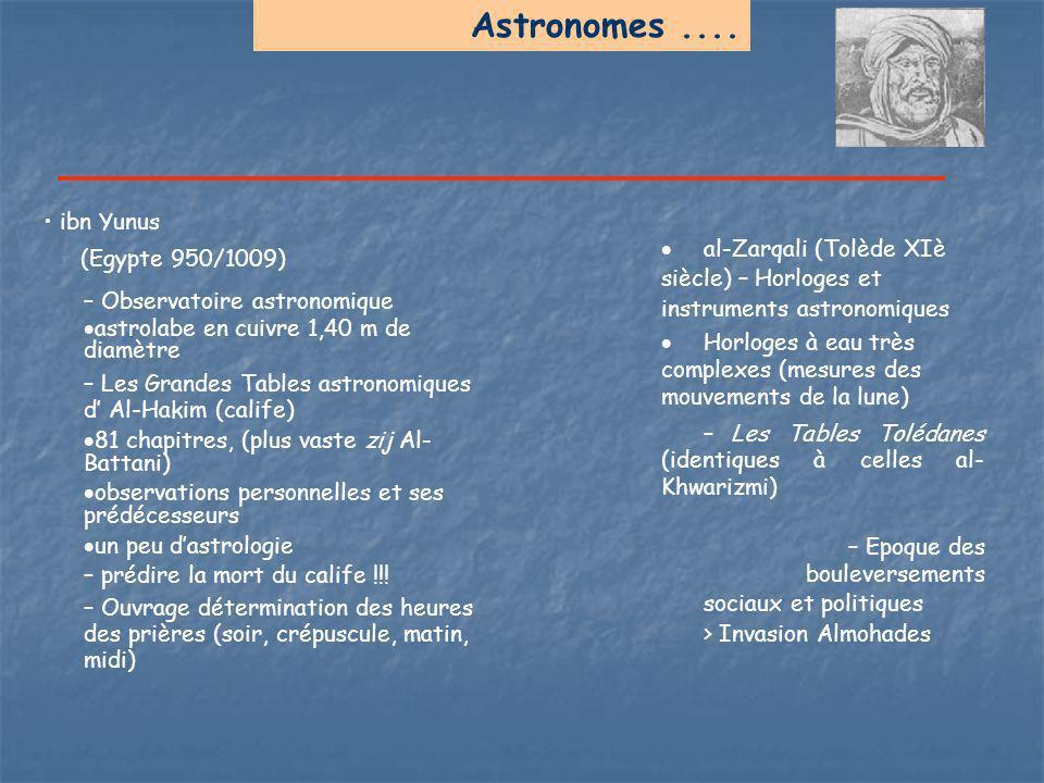 Astronomes.... ibn Yunus (Egypte 950/1009) – Observatoire astronomique  astrolabe en cuivre 1,40 m de diamètre – Les Grandes Tables astronomiques d'