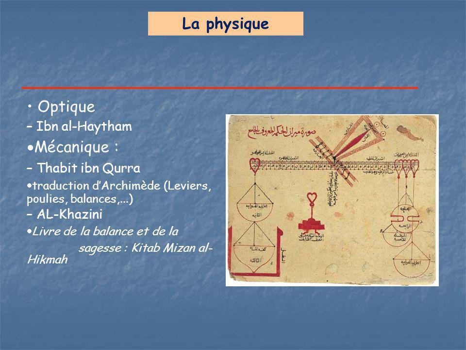 La physique Optique – Ibn al-Haytham  Mécanique : – Thabit ibn Qurra  traduction d'Archimède (Leviers, poulies, balances,...) – AL-Khazini  Livre d