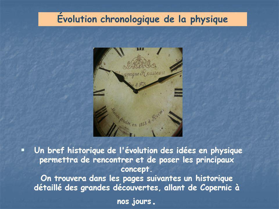  Un bref historique de l'évolution des idées en physique permettra de rencontrer et de poser les principaux concept. On trouvera dans les pages suiva
