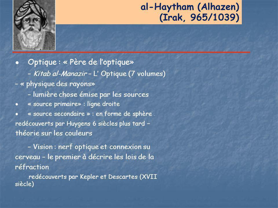 al-Haytham (Alhazen) (Irak, 965/1039)  Optique : « Père de l'optique» – Kitab al-Manazir – L' Optique (7 volumes) – « physique des rayons» – lumière