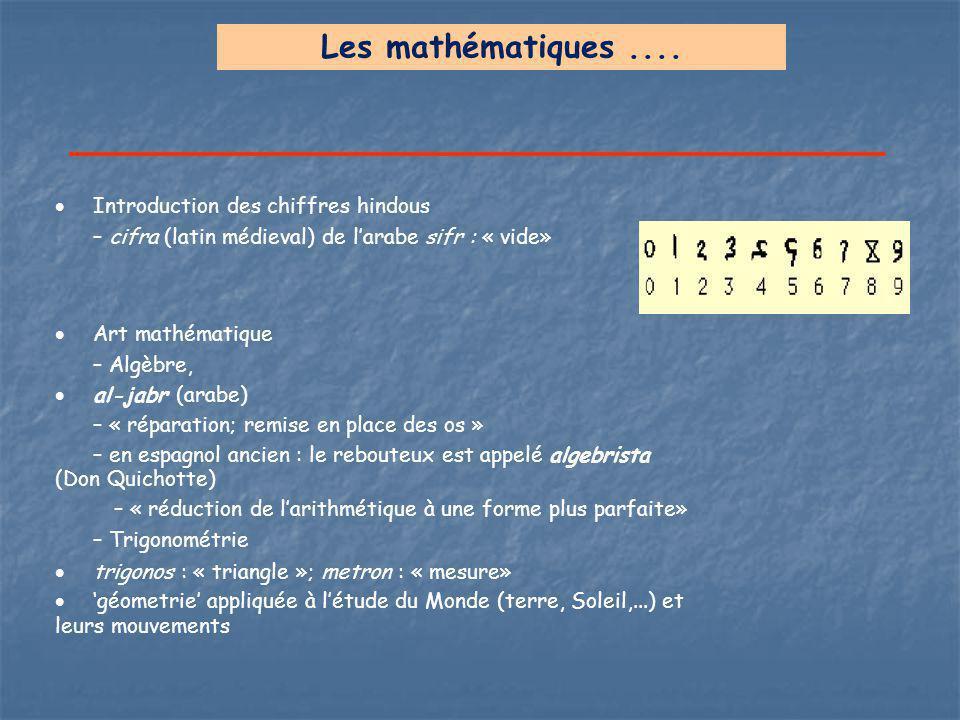 Les mathématiques....  Introduction des chiffres hindous – cifra (latin médieval) de l'arabe sifr : « vide»  Art mathématique – Algèbre,  al-jabr (