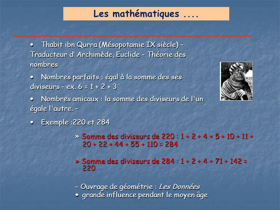  Thabit ibn Qurra (Mésopotamie IX siècle) – Traducteur d' Archimède, Euclide – Théorie des nombres  Nombres parfaits : égal à la somme des ses divis