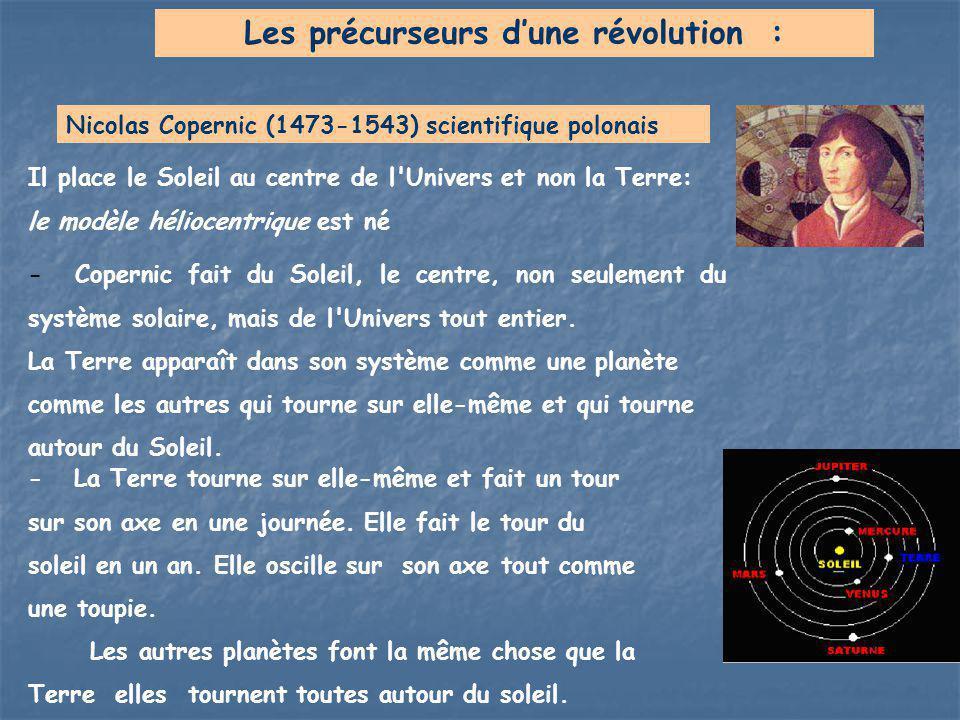 Il place le Soleil au centre de l'Univers et non la Terre: le modèle héliocentrique est né Nicolas Copernic (1473-1543) scientifique polonais Les préc