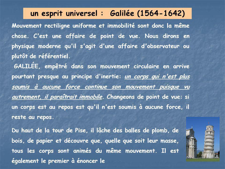 un esprit universel : Galilée (1564-1642) Mouvement rectiligne uniforme et immobilité sont donc la même chose. C'est une affaire de point de vue. Nous